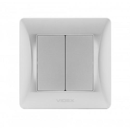 VIDEX BINERA Выключатель 2кл серебряный шёлк (VF-BNSW2-SS)
