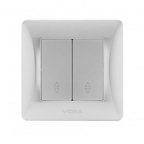 VIDEX BINERA Выключатель 2кл проходной серебряный шёлк (VF-BNSW2P-SS)