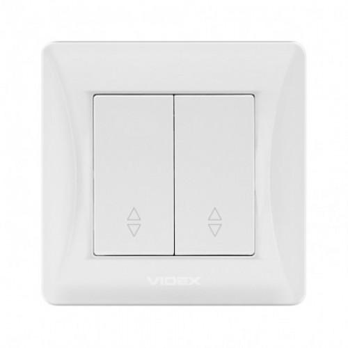 VIDEX BINERA Выключатель белый 2кл проходной (VF-BNSW2P-W)