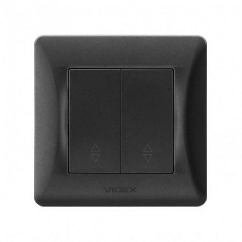 VIDEX BINERA Выключатель черный графит 2кл проходной (VF-BNSW2P-BG)