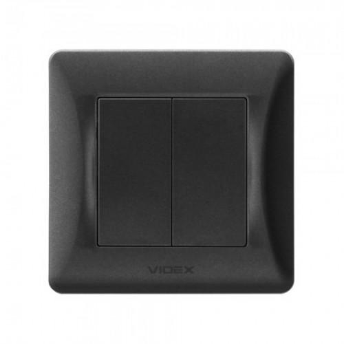 VIDEX BINERA Выключатель черный графит 2кл (VF-BNSW2-BG)