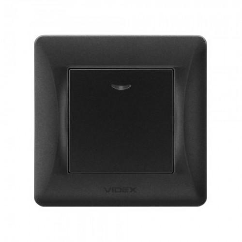 VIDEX BINERA Выключатель черный графит 1кл с подсветкой (VF-BNSW1L-BG)