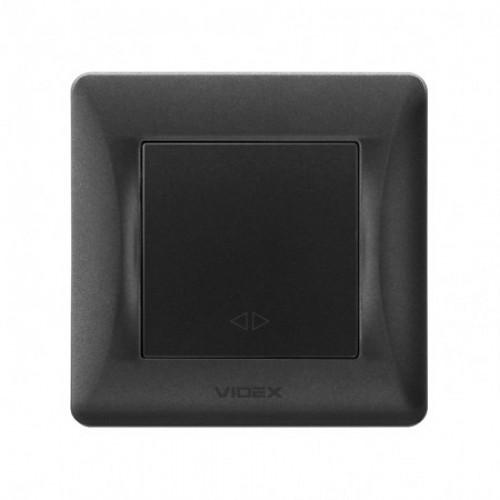 VIDEX BINERA Выключатель черный графит 1кл промежуточный (VF-BNSW1I-BG)
