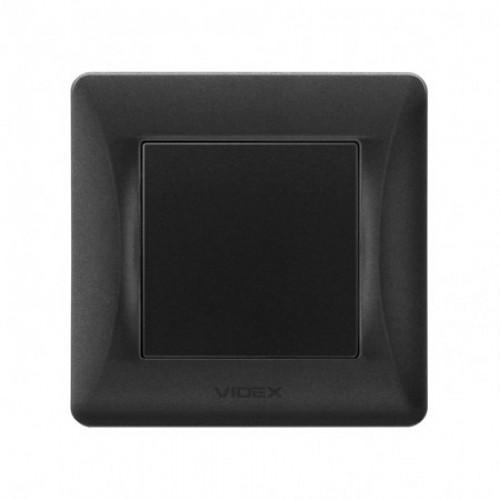 VIDEX BINERA Выключатель черный графит 1кл (VF-BNSW1-BG)